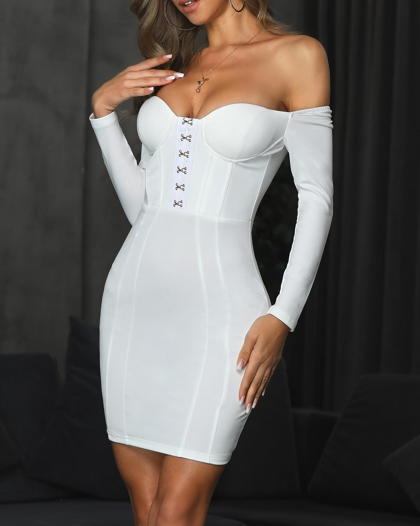 Metallic Hooks Long Sleeve Bodycon Dress фото