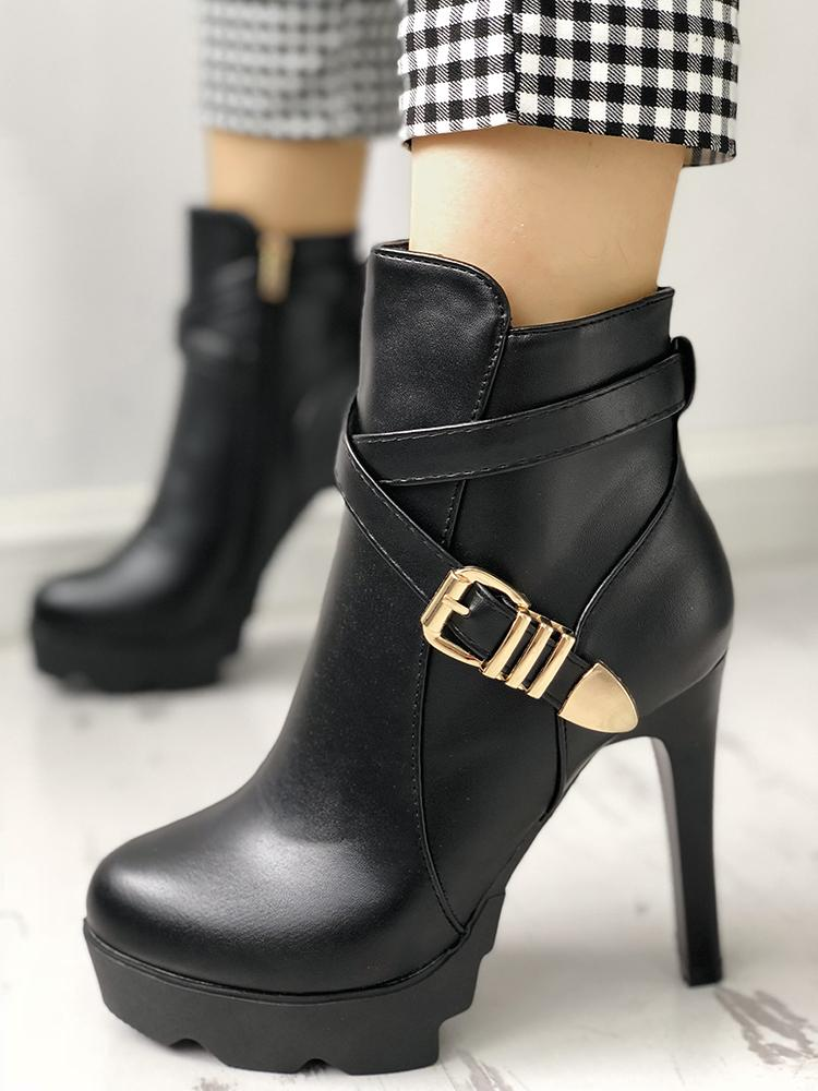 Crisscross Buckle Platform Thin Heeled Ankle Boots