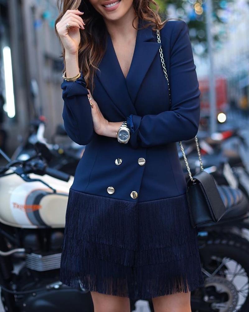 chicme / Vestido blazer con diseño cruzado y borlas
