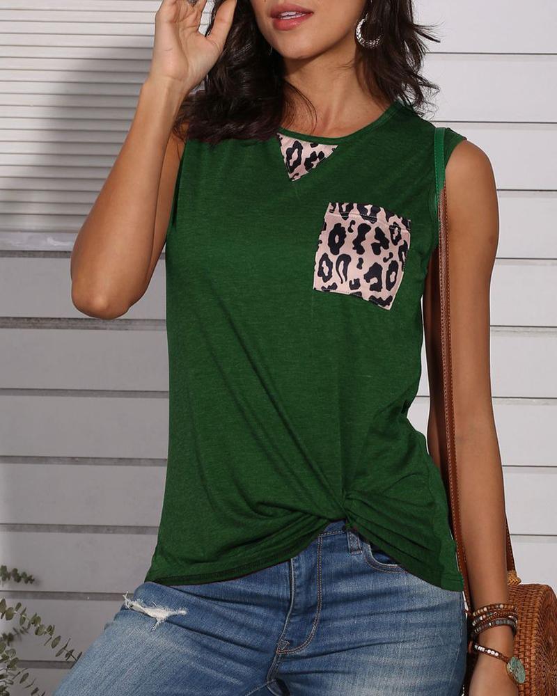 Leopard Print Pocket Design Tank Top фото