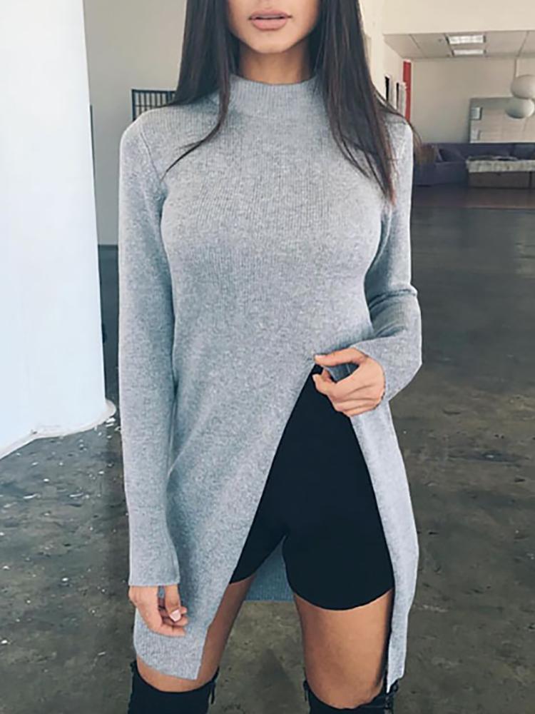Autumn Fashion High Slit Long Sleeve Knitting Top