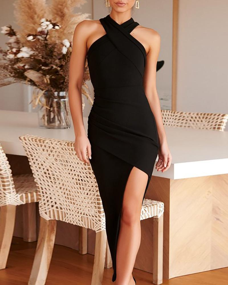joyshoetique / Crisscross Ruched Slit Irregular Bodycon Dress