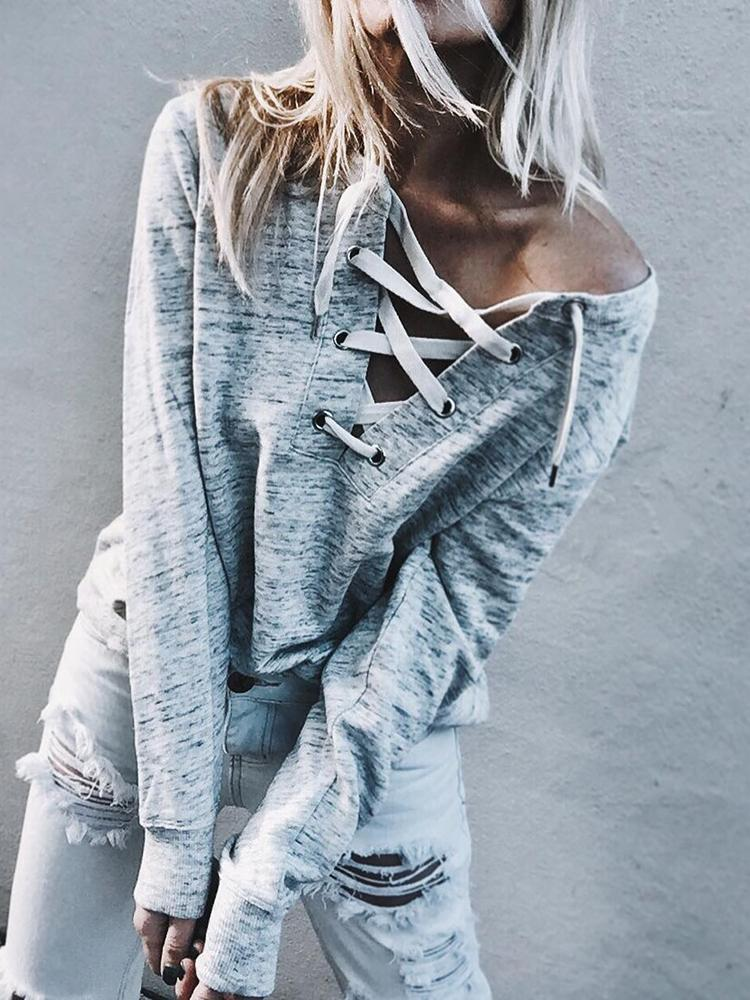 Trendy Lace-up Casual T-shirt