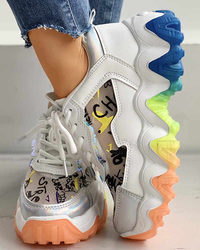boutiquefeel / Zapatillas tipo muffin con cordones y bloques de color con estampado de letras