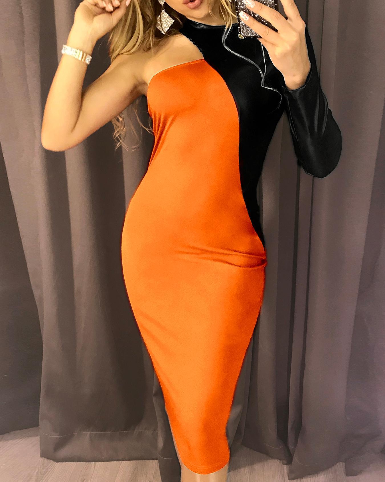 PU Splicing One Long Sleeve Party Dress, Orange