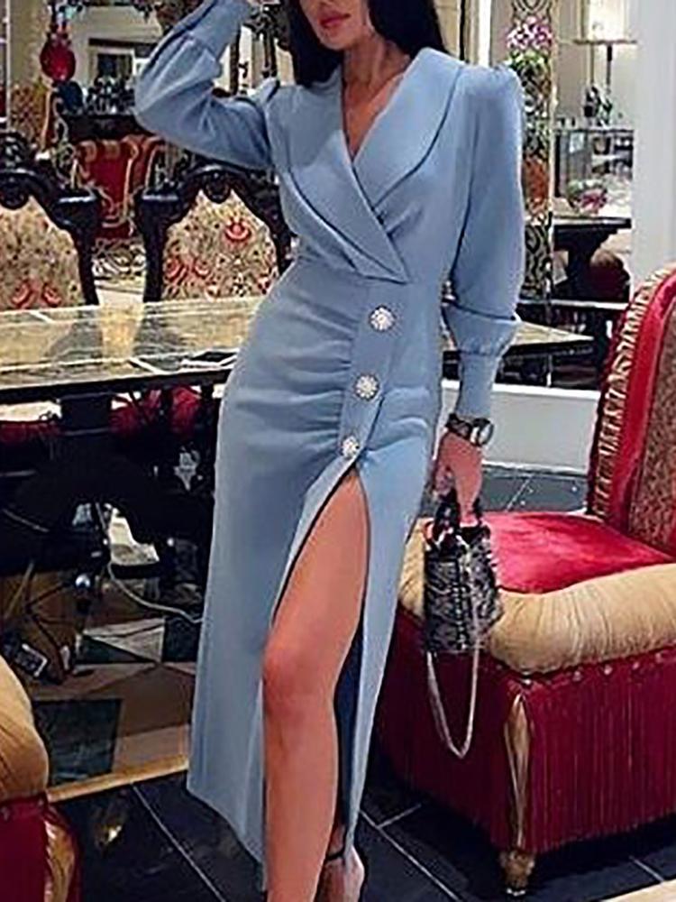 chicme / Button Detail Thigh Slit Blazer Dress
