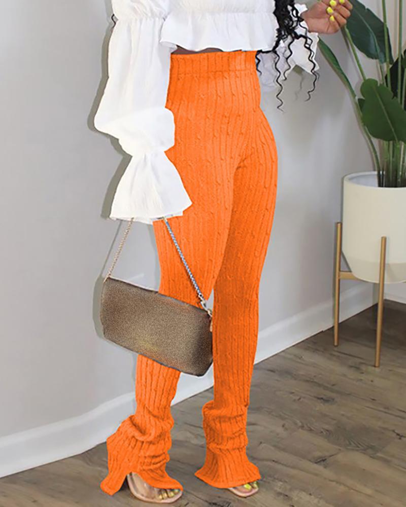 High Waist Slit Cuffed Detail Pants фото