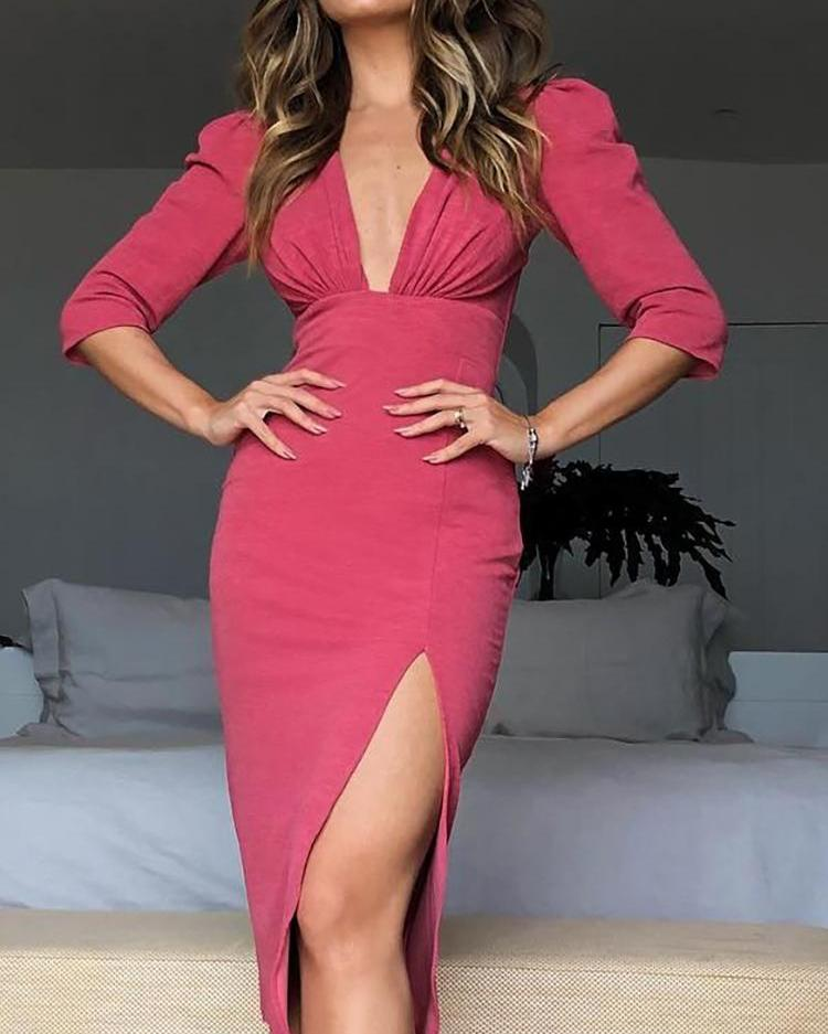 Ruched Puff Sleeve Thigh Slit Dress фото
