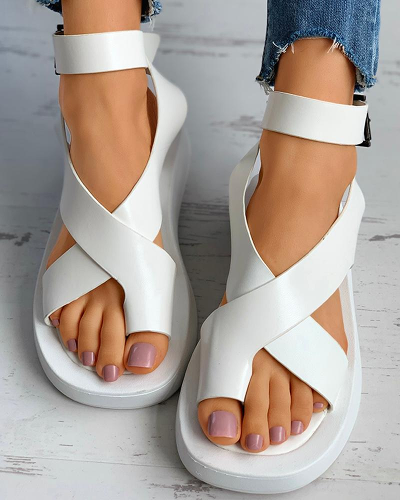chicme / Toe Ring Slingback Buckled Muffin Sandals