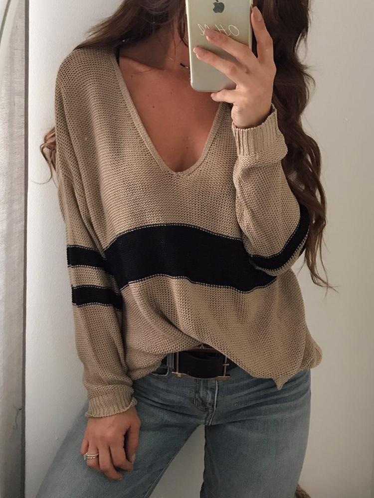 Contrast Stripes V Neck Casual Sweater - Khaki