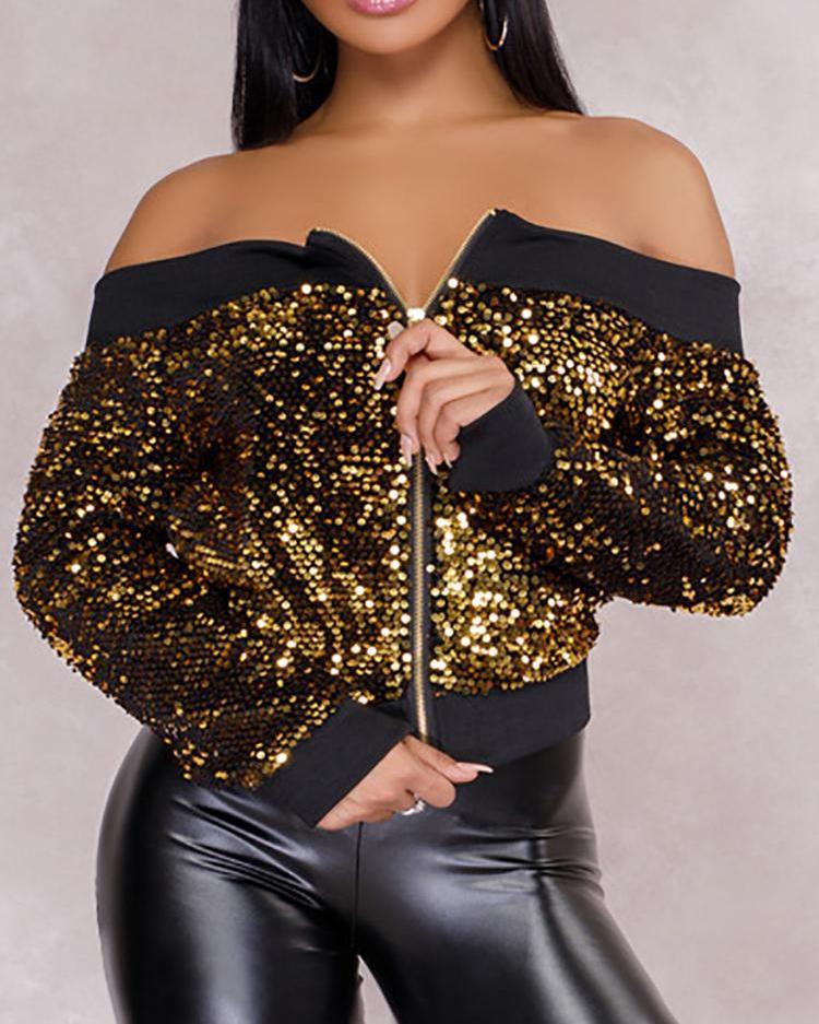 Off Shoulder Binding Zipper Up Sequin Jacket