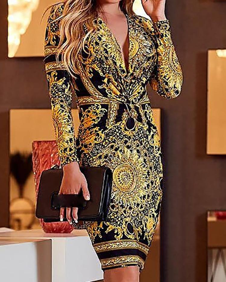 Retro Print Twist Front Long Sleeve Dress фото