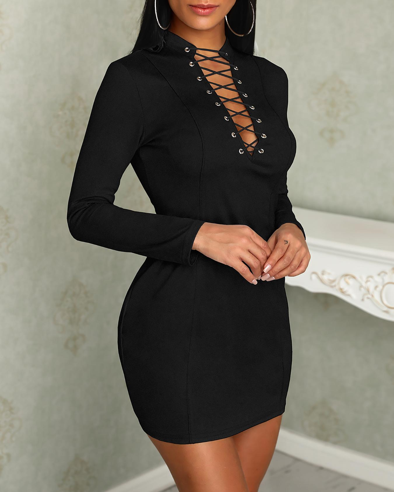 Stylish Lace-up Front Bodycon Dress фото