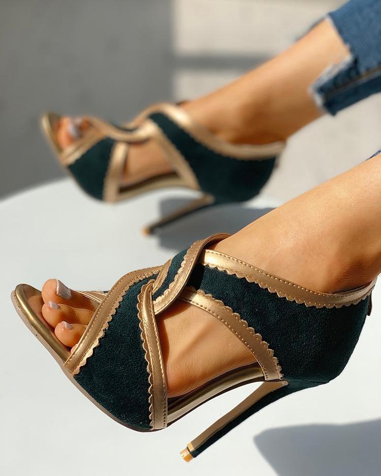 Velvet Contrast Binding Twisted Thin Heels фото