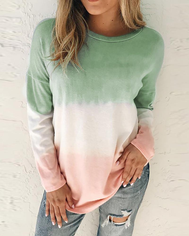 Colorblock Long Sleeve Casual Sweatshirt фото