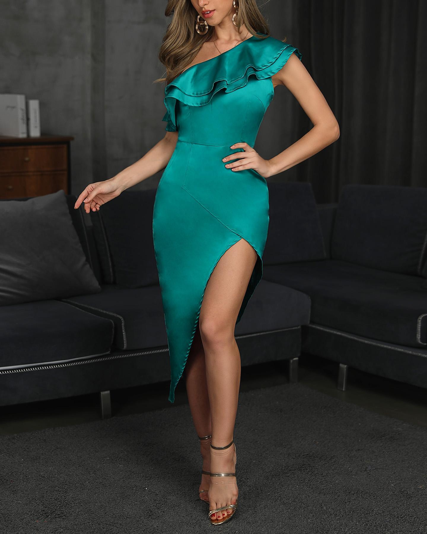 One Shoulder Ruffles Design Slit Party Dress