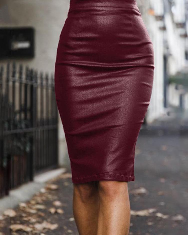 High Waist Zipper Back PU Skirt фото