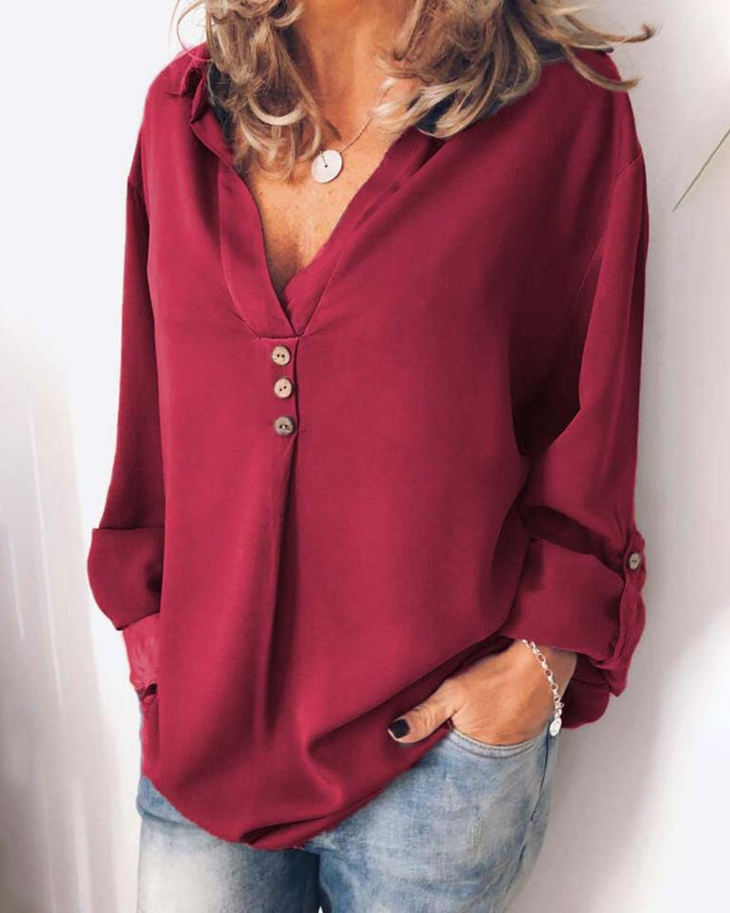 Button Design V Neck Adjustable Sleeve Blouse фото