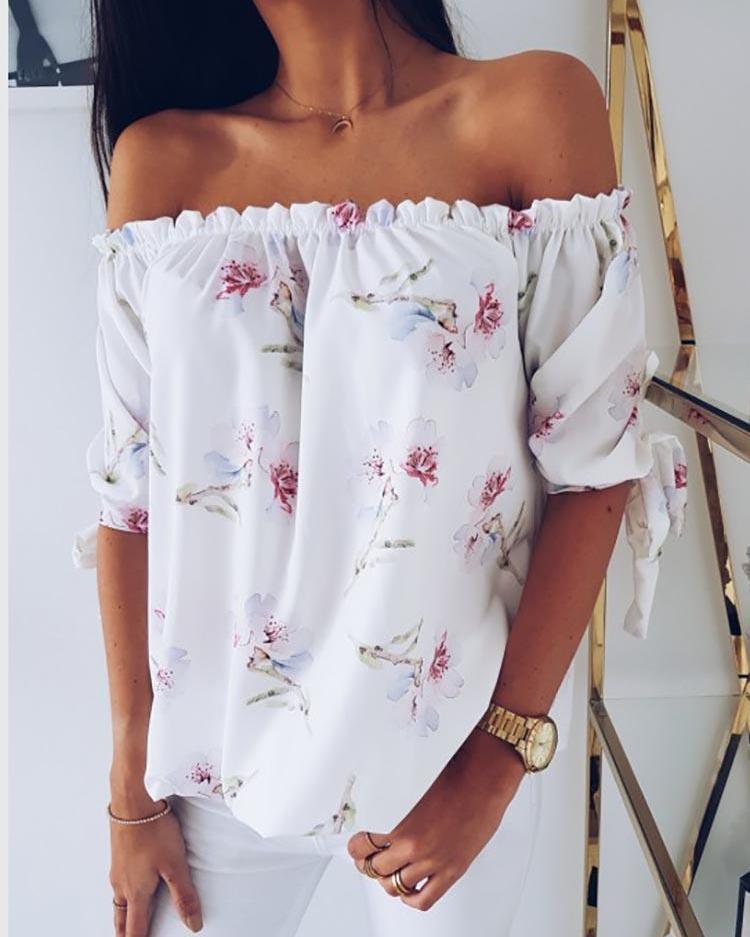 Floral Print Off Shoulder Shirring Blouse