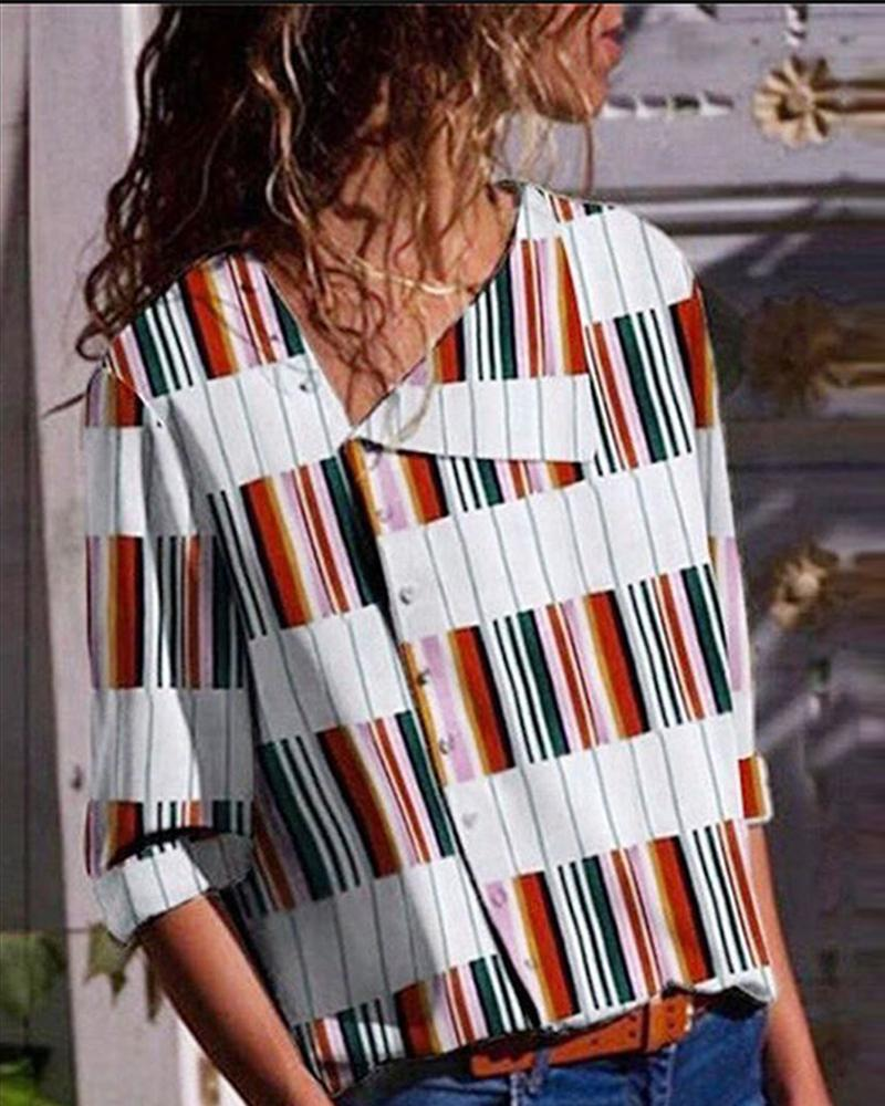 boutiquefeel / Blusa Casual Imprimir Oblack Placket Casual