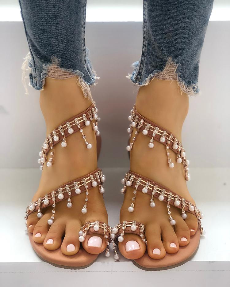 Shiny Embellished Toe Post Flat Sandals фото