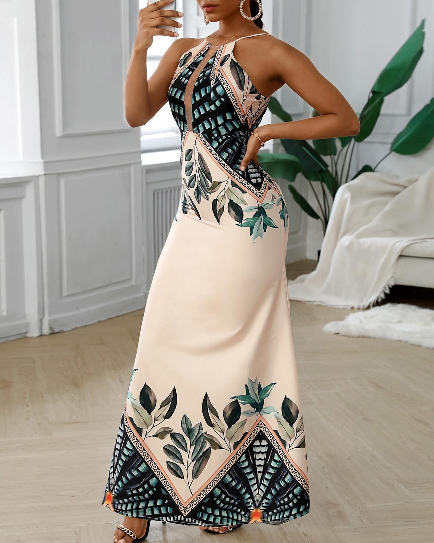 Tripical Print Spaghetti Strap Maxi Dress фото