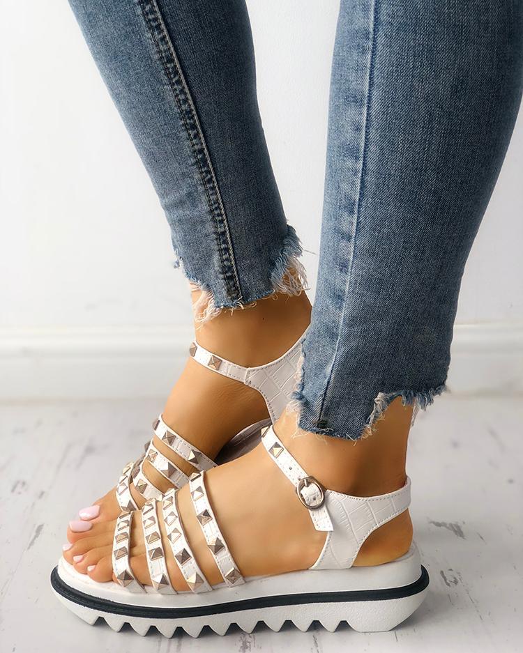 Ladies Rivet Multi-strap Platform Muffin Sandals