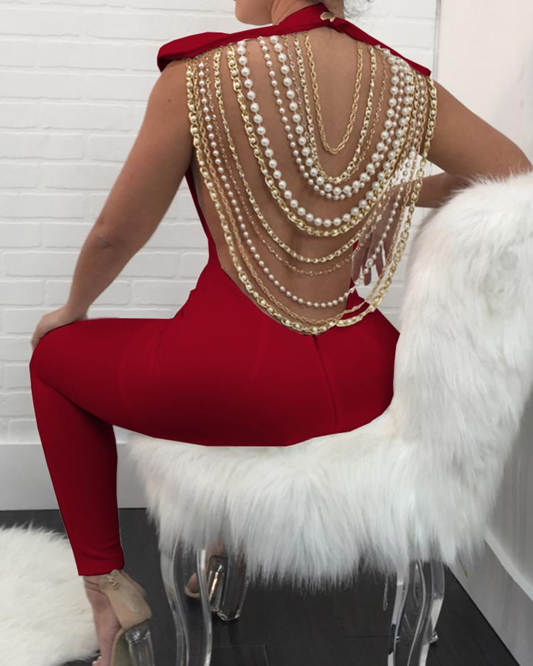 Sexy Open Back Beading Embellished Jumpsuits