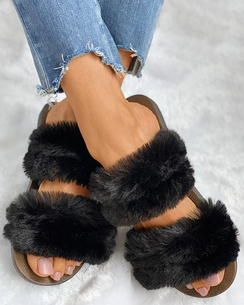 Fluffy Design Open Toe Flat Shoes фото