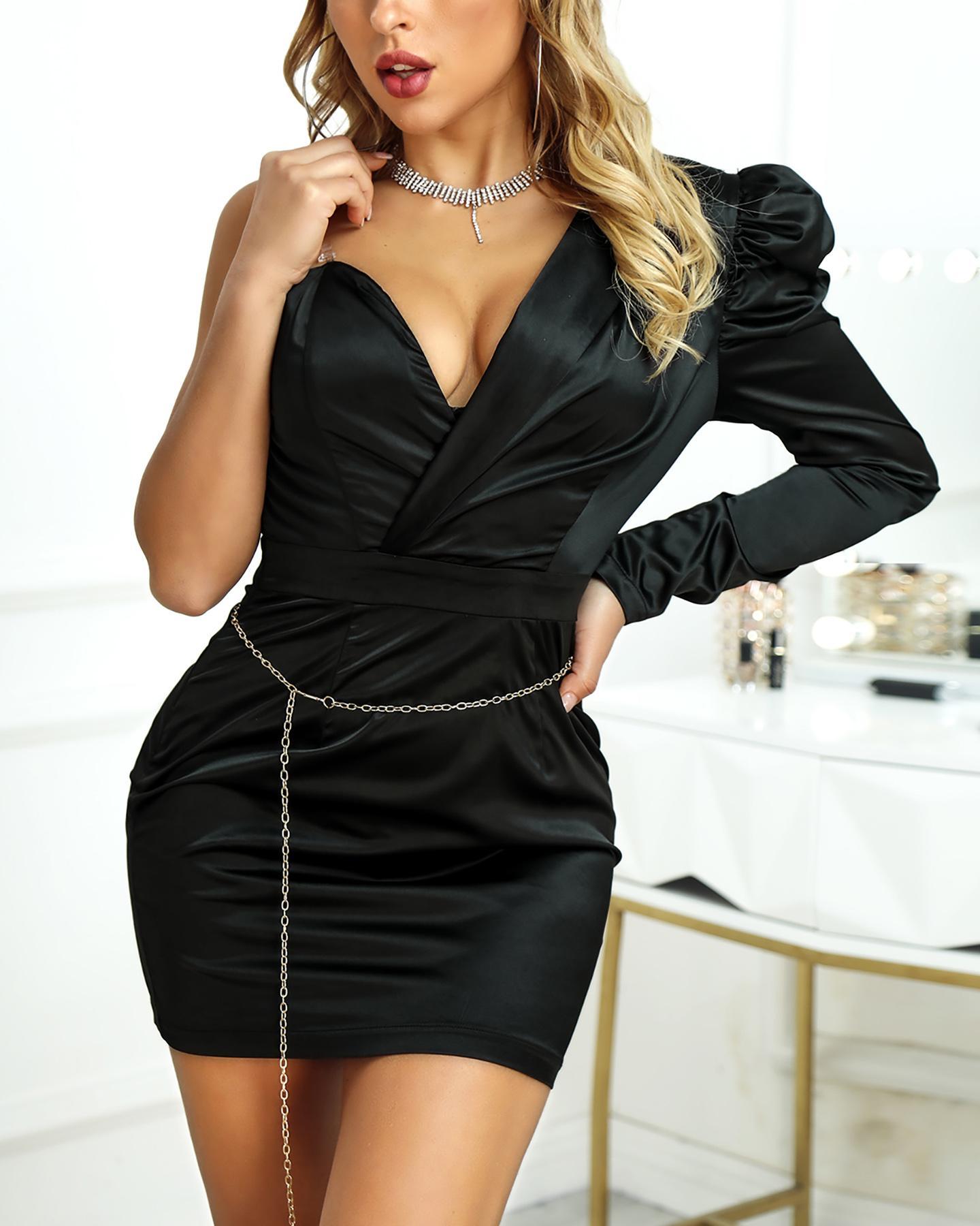 One Shoulder Puffed Sleeve Bodycon Dress фото