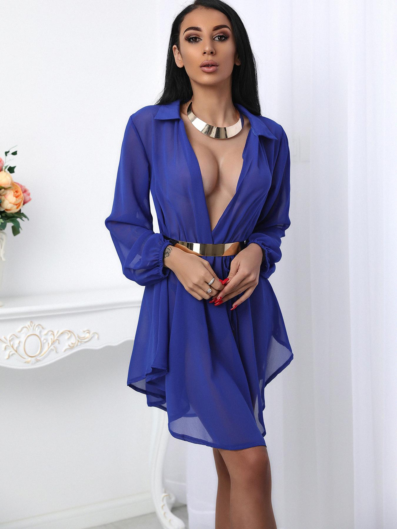 Asymmetrical Pleated Drawstring Waist Plunge Dress