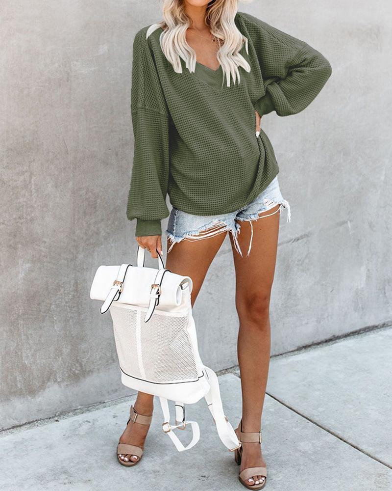 Large V-neck off-the-shoulder sweater фото