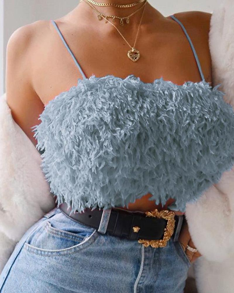Faux Fur Cami Crop Top фото