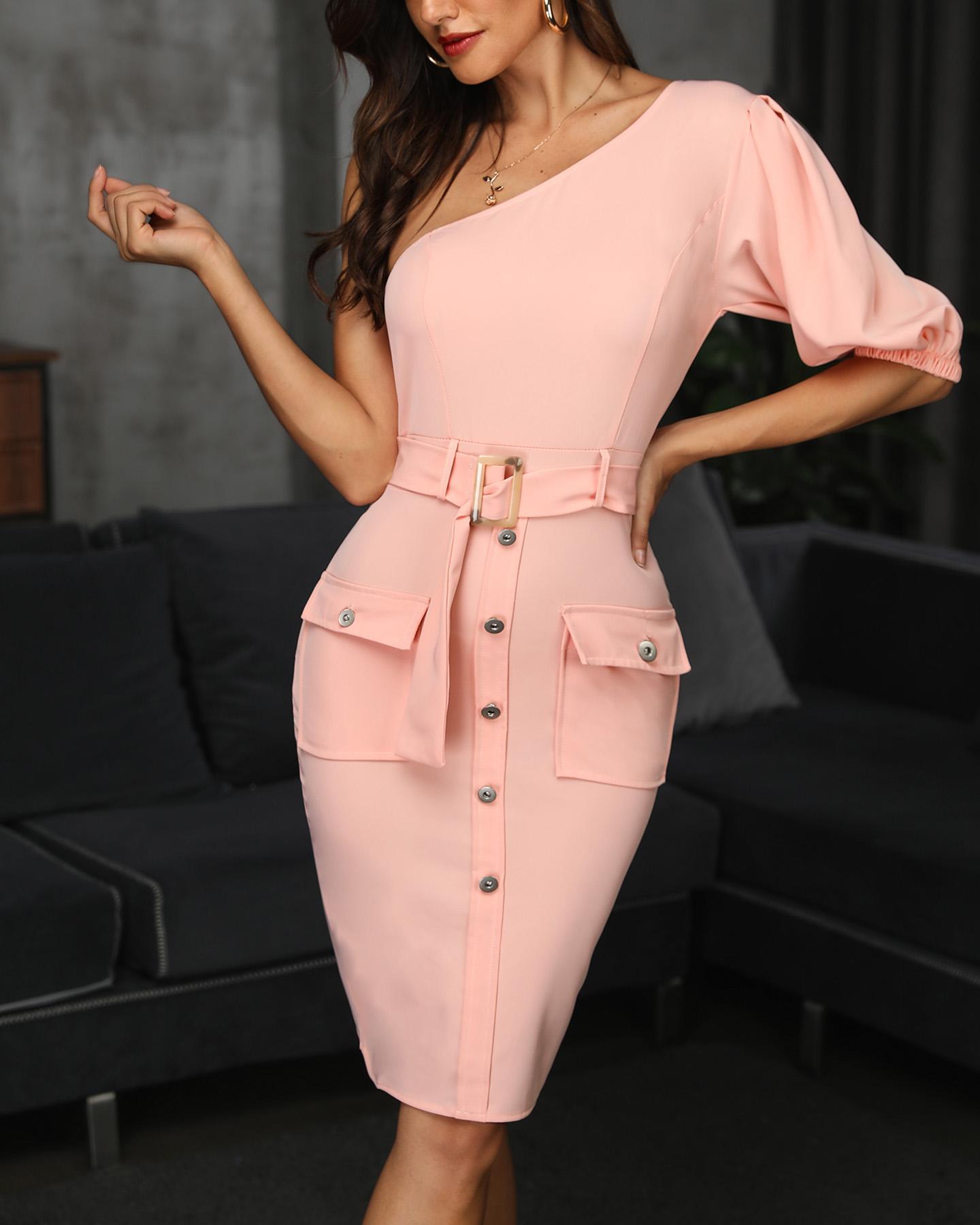 Solid One Shoulder Pocket Button Design Belted Dress фото