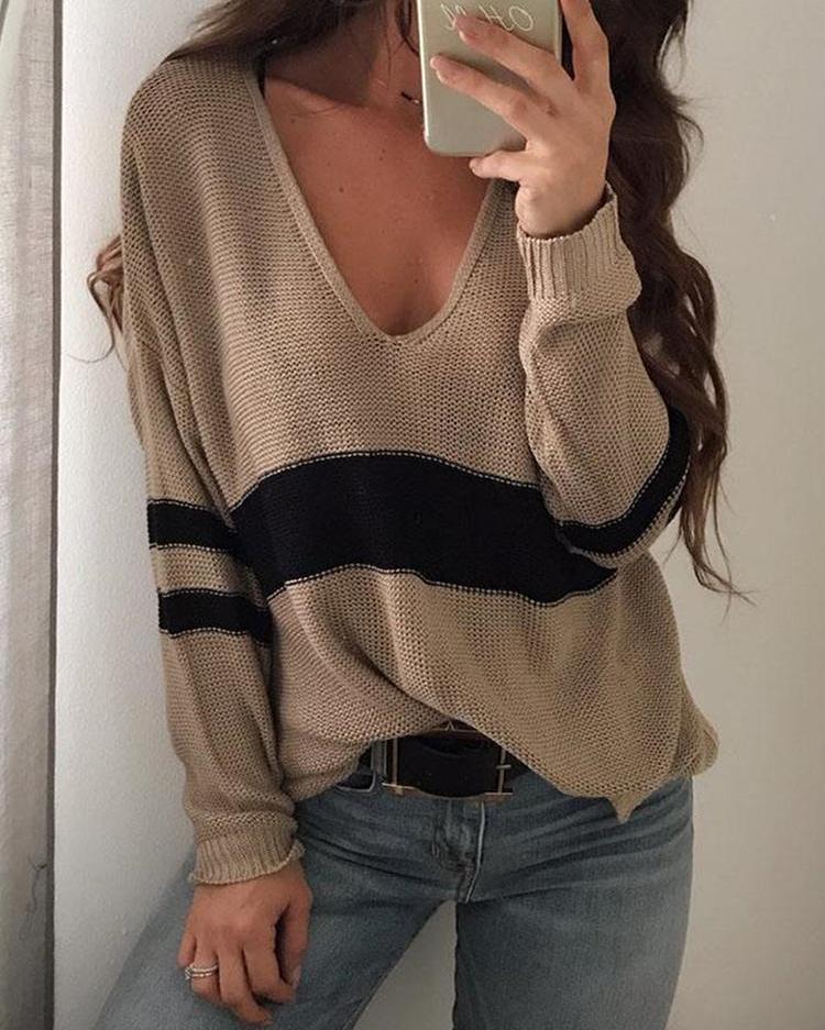 Contrast Stripes Deep V Loose Sweater