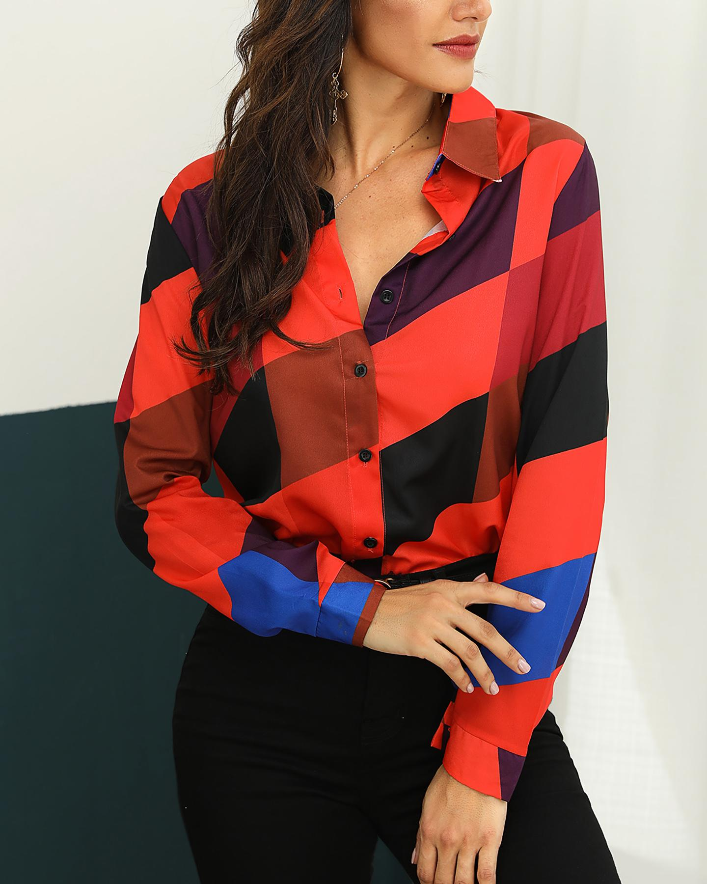 Contrast Color Stripes Long Sleeve Casual Shirt фото