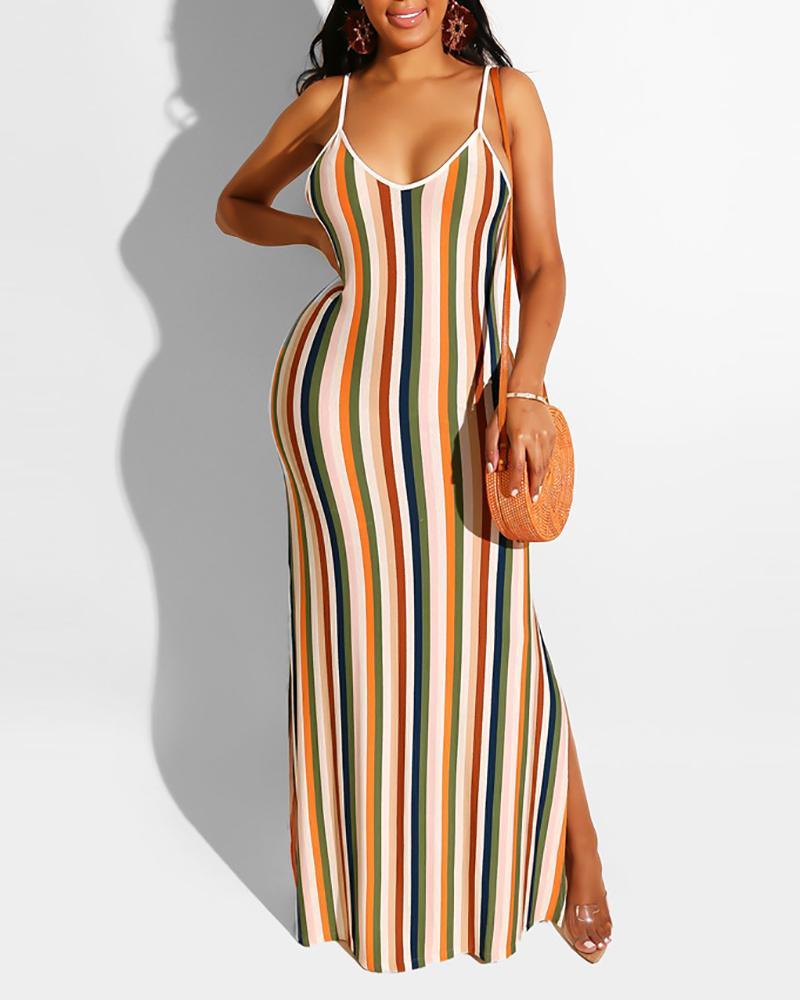 joyshoetique / Sling Striped Slit Maxi Dress