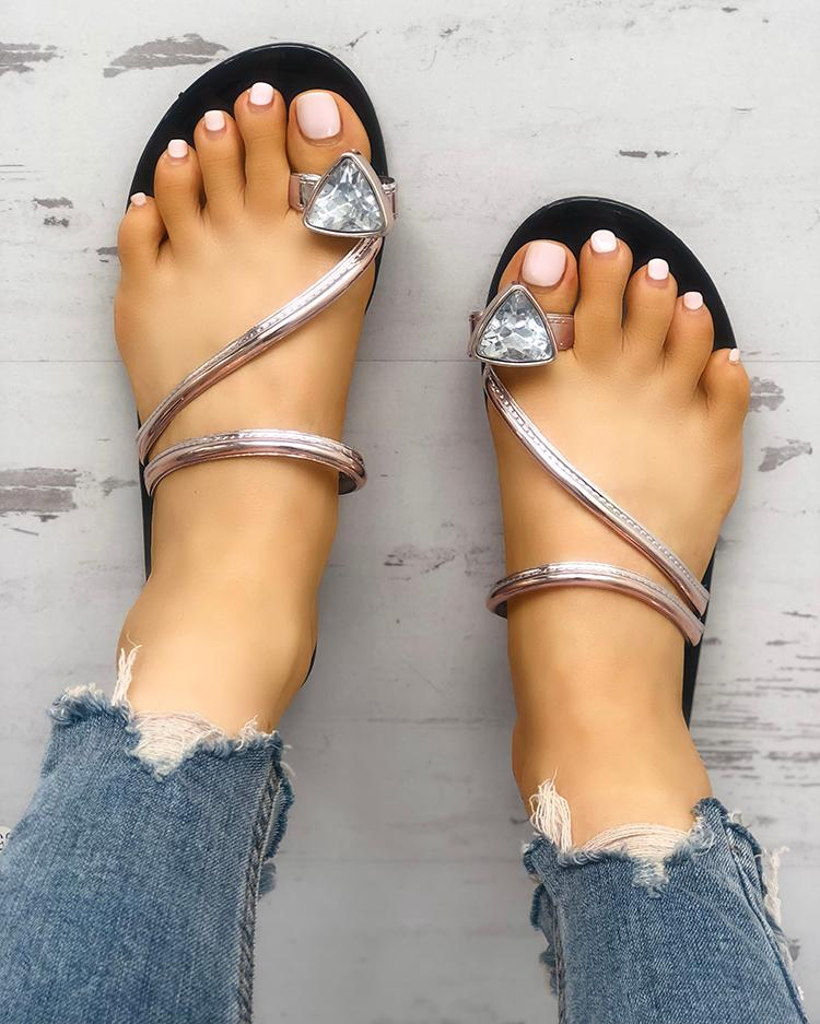 Concise Glittering Toe Ring Flat Sandals