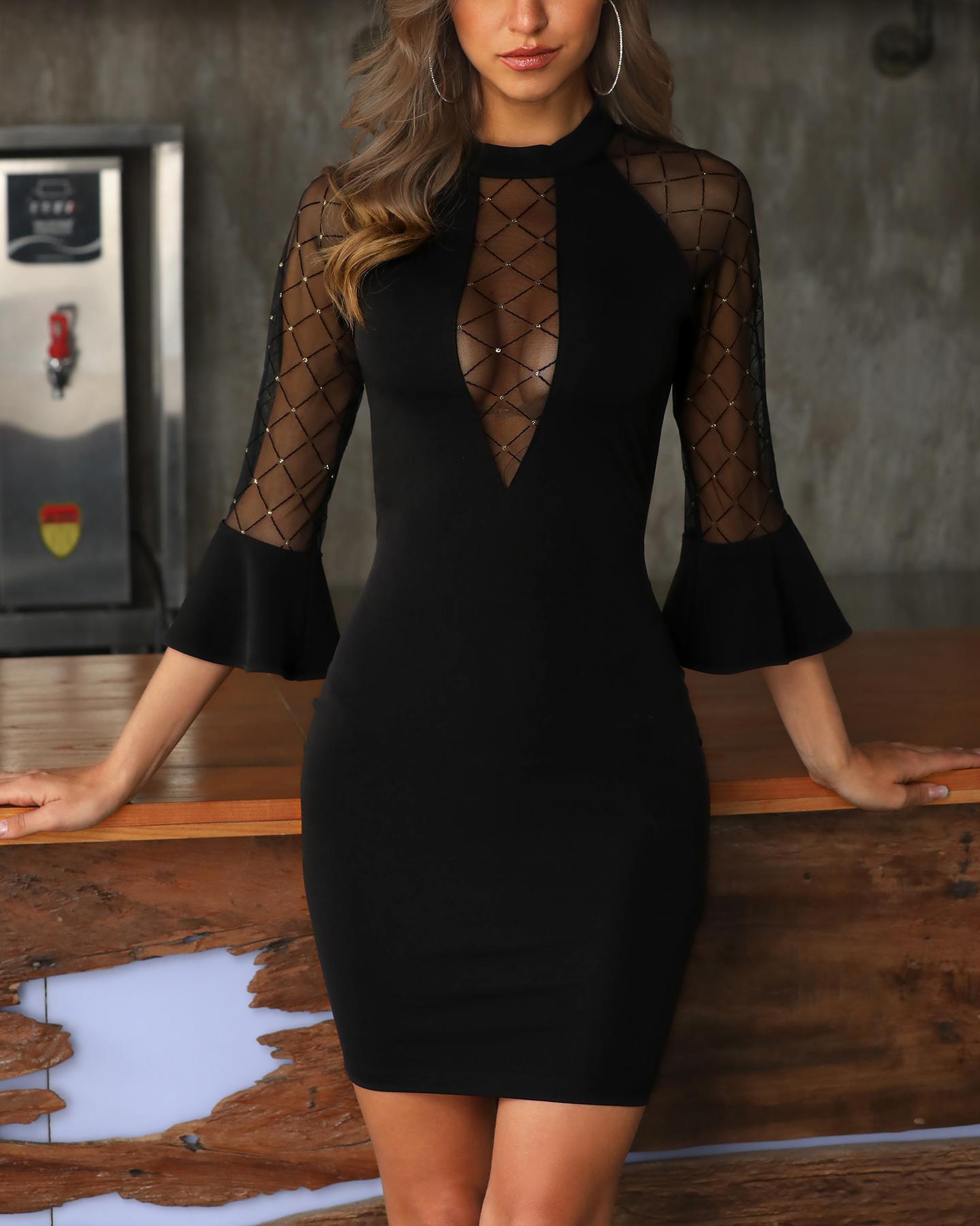 Grid Sheer Mesh Insert Bell Cuff Bodycon Dress, Black&gold