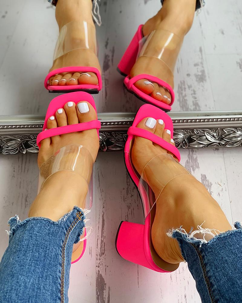 Transparent Strap Chunky Heeled Sandals фото