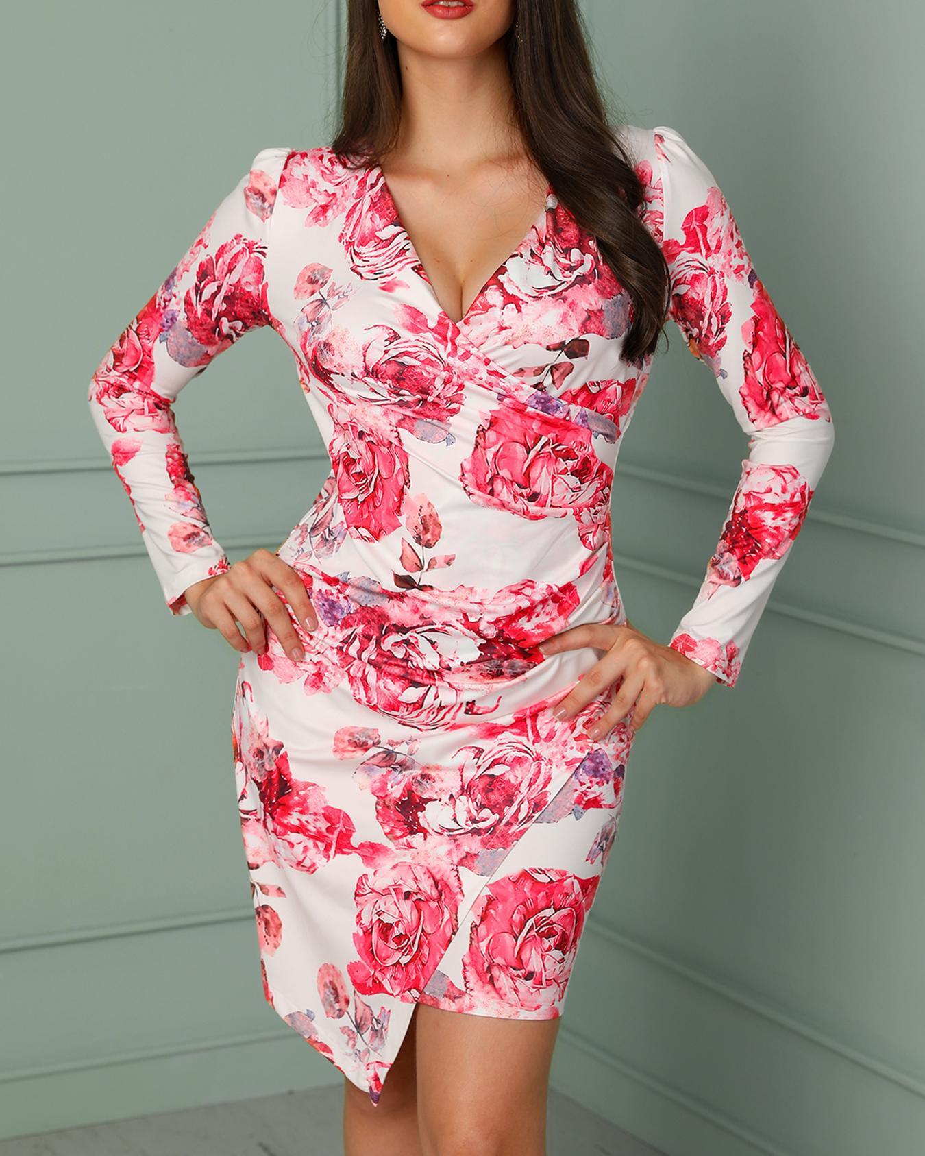 boutiquefeel / Vestido Irregular Envuelto Estampado Floral
