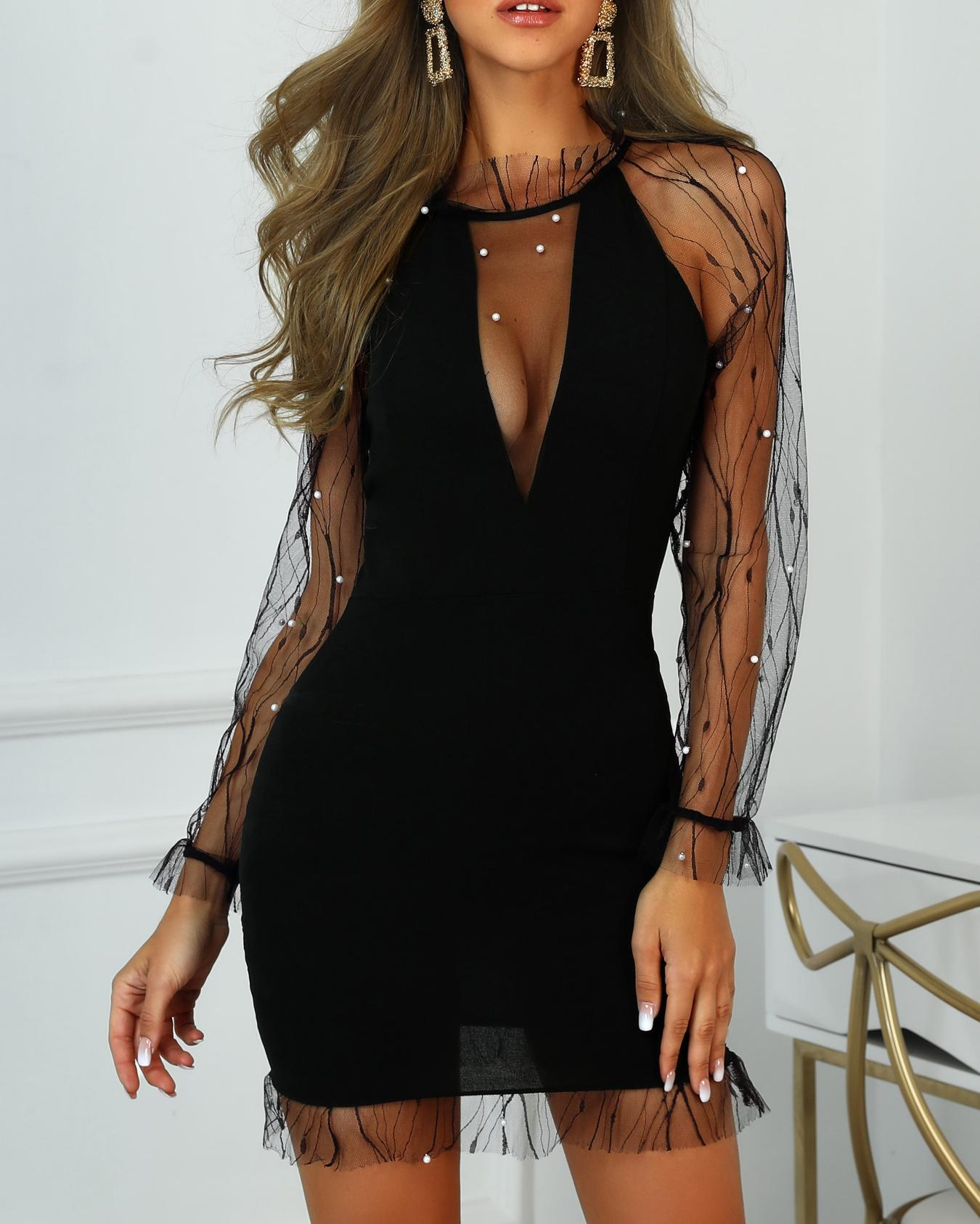 Sheer Mesh Beaded Detail Party Dress фото