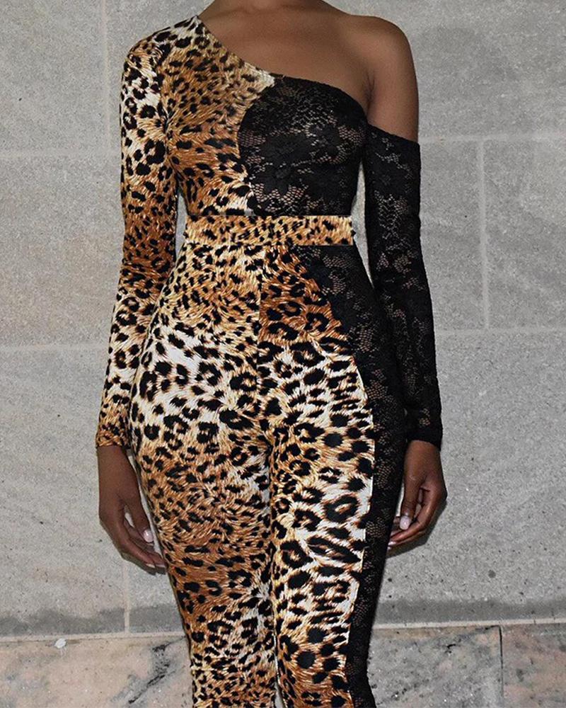 chicme / One Shoulder Leopard Lace Insert Jumpsuit