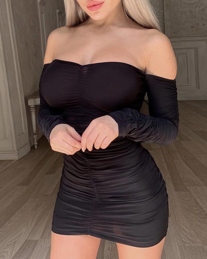 Off Shoulder Ruched Mini Dress фото