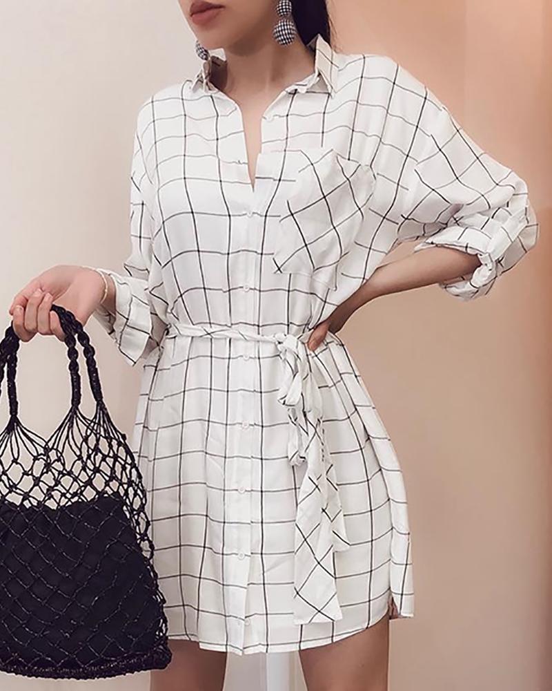 Grid Button Through Casual Shirt Dress