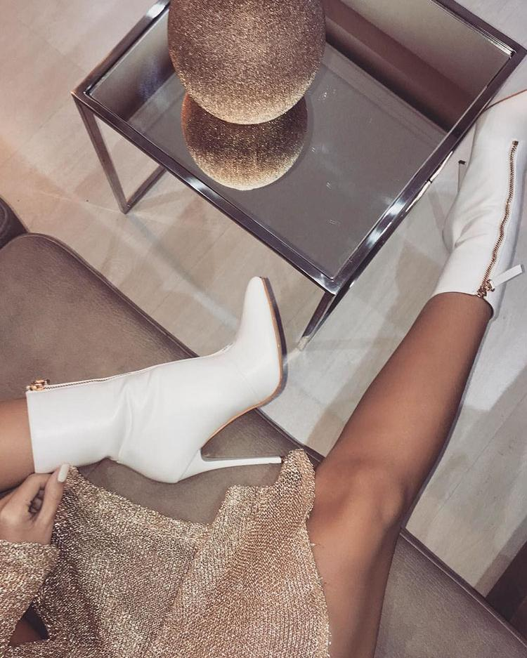 Front Zipper Thin Heeled Boots - White