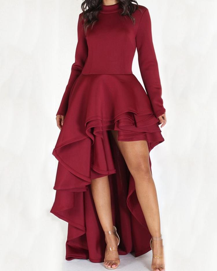 Fashion Pleated Dip Hem Maxi Dress