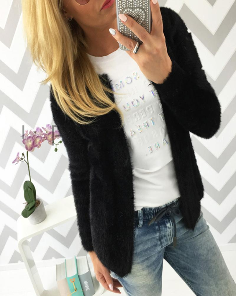 Solid Long Sleeve Casual Fluffy Coat фото