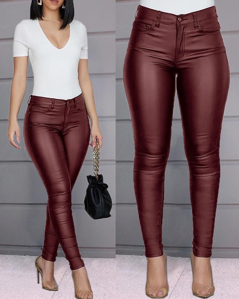 joyshoetique / Solid Buttoned Casual Coated PU Pants