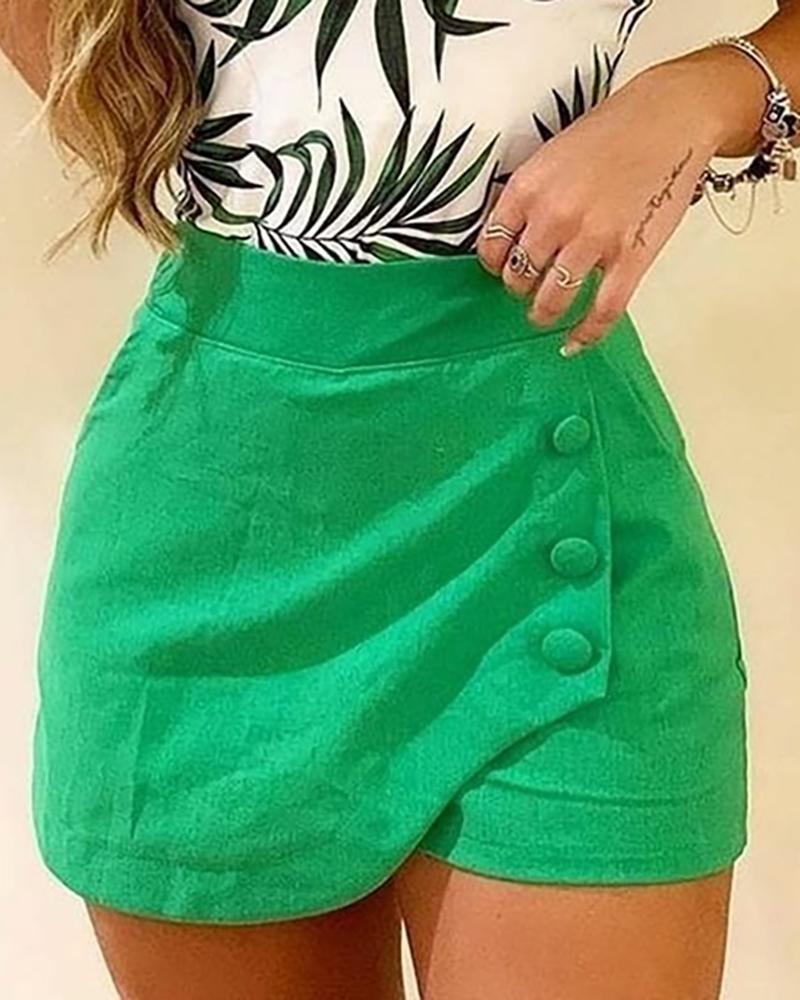 chicme / Shorts de diseño de botones de cintura alta